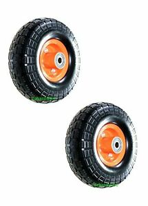 """2x10""""Solid Wheels Trolley Puncture proof OFFSET 16mm Bore Flat Free Tire Tyre"""