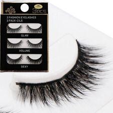 3 Pairs 3D Black Thick Cross False Eyelashes Makeup Long Fake Lashes Extension