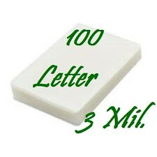 100 PIECE Letter Size Laminating Pouches Sheets  9 x 11-1/2   3 Mil FREE CARRIER
