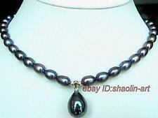 Collier en perles d'eau douce noir avec pendentif , 43cm