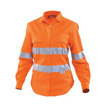 WOMAN'S LONG SLEEVE HI-VIS WORK SHIRT SIZE 6 WORKHORSE BRAND  WSH005 ** NEW**