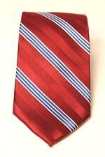 Saddlebred Mens NWT Red Blue White Diagonal Striped Silk X-Long Neck Tie