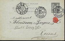 ENTIER  POSTAL  CARTE  POSTALE  TYPE SAGE  1897 BORDEAUX