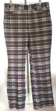 1970s Maverick Polyester Pants Mens 34 x 32 Knit Flare Bell Bottom Plaid Wine