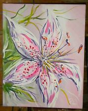 SIGNED ACRYLIC FLORAL PATTERNED PAINTING, ARTIST FROM CHARLESTON
