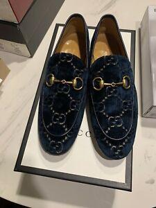 New Auth Gucci Jordaan GG Logo Print Men Supreme Velvet Loafer Moccasin 6 $1250