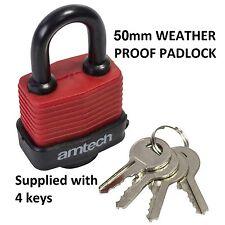 Large Weatherproof 50mm Security PADLOCK With 4 Keys Garage Home Safety Sheds