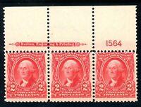 USAstamps Unused VF US Series of 1902 Washington Plate # Strip Scott 301 OG MNH