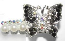 """Black Butterfly Hair Alligator Clip Crystal Rhinestone Barrette Prom 0.75""""x1.5"""""""