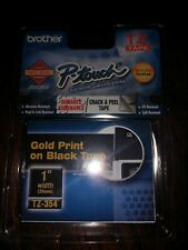 """Brother P-Touch TZ-354 1"""" Gold Print On Black Tape"""