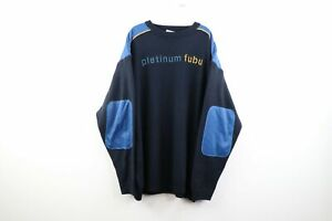 Vintage 90s Platinum FUBU Mens 3XL Stitched Spell Out Knit Crewneck Sweater Blue