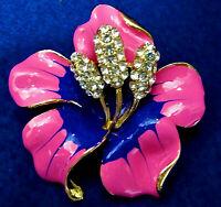 ORCHID Flower Lotus Purple PINK Rhinestone Retro Vintage Necklace Pendant Brooch