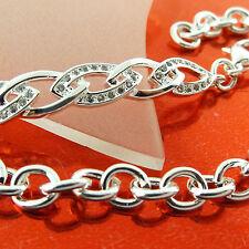 BRACELET CUFF BANGLE 925 STERLING SILVER S/F DIAMOND SIMULATED DESIGN FS3A575