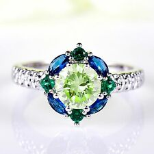 Beautiful Green Amethyst Sterling Silver Plated Ring Size R 1/2