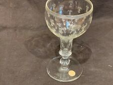Antique hand blown wine glass European French 19thC Engraved fleur de lis 5.25�