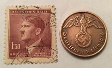 nazi  coin  + Hitler stamp + ww2 german Badge