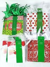 24 Small Christmas Paper Gift Bags Ribbon Tie Same Size Different Designs