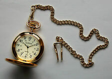 "Men's Pocket Watch  with Gold tone 14"" chain and clip. + FREE Battery"