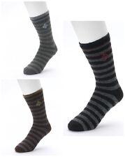 Lot of 3 Columbia Lodge Crew Stripe Anti-Skid Black Charcoal Brown Slipper Socks