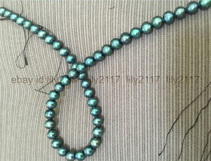 Stunnng 9-10mm Natural Round Tahitian Peacock Green Pearl Necklace 18inch