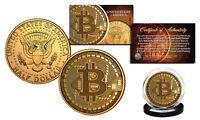 BITCOIN Physical Commemorative Crypto 24K Gold Plated JFK Half Dollar U.S. Coin