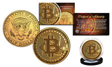 BITCOIN Physical Commemorative Crypto 24K Gold Plated JFK Half Dollar U.S. Coin