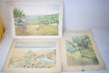 Vintage 3 pcs Hand Painted Painting Balkan Summer & Spring Landscape Art Deco