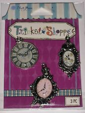 3 SILVER METAL GRAPHIC CLOCK TRINKET SHOPPE EMBELLISHMENTS BY BLUE MOON BEADS