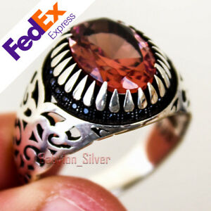 Alexandrite Change Color Stone 925 Sterling Silver Turkish Men's Ring All Size