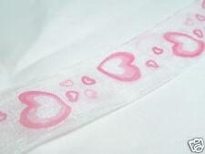 5m x 25mm Patterned Organza Ribbon:#54 Pink Hearts