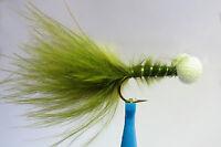 10 x Mouche de peche Streamer Booby OLIVE H8/10/12 marabou mosca fliegen fly