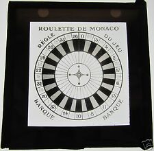 Glass Magic lantern slide of A MONACO ROULETTE TABLE C1900 GAMBLING