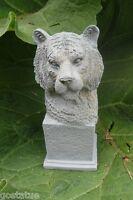 Latex tiger on pedestal mold plaster cement casting garden mould