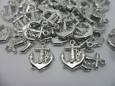 50 x Ships Anchor~Acrylic Charm Pendants/Beads for Jewellery making 18x16x3mm
