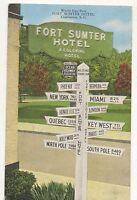 World Sign Post, Fort Sumter Hotel CHARLESTON SC, Vintge South Carolina Postcard