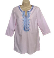 J. McLaughlin Tunic Top Women's Small Pink Micro Check Embroidered Fremont