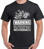Motorbike T-Shirt Warning Talking About Mens Funny Motorcycle Bike Biker