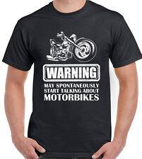 Warning Talking About Motorbikes Mens Funny Motorcycle T-Shirt Bike Biker