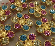 """12 Czech multi matte gold metal rhinestone shank buttons pink blue 1.25"""" #707"""