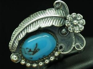 925 Sterling Silver Ring With Turquoise Decorations /Blumenmuster/Sterling/7,3g/