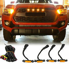 4X Raptor Style Amber Lens Grille LED Lights For 2016-2021 Toyota Tacoma Pro