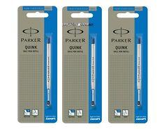 3X Parker Quink Flow Ball Point Pen BP Refill Refills Fine Nib Blue Ink