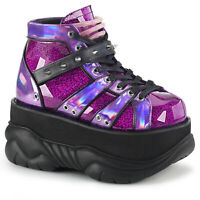 Demonia NEPTUNE-100 Men's Purple Emo Goth Punk Moon Shoes Platform Ankle Boots