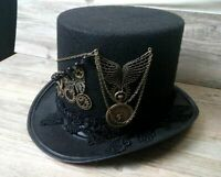 Gothic Top Hat Gears Lace Wings Chain Steampunk Retro Vintage Halloween Cosplay