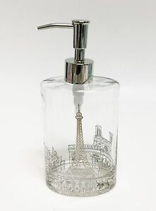 NEW PARIS EIFFEL TOWER DESIGN IN GOLD,OVAL GLASS SOAP DISPENSER + SILVER PUMP