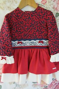 Red Navy Cream Smart Party Occasion Dress By MIRANDA SPANISH 2-3 Small 4 £56