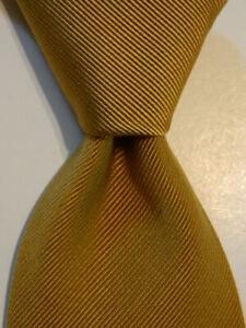 BRIONI Men's 100% Silk Necktie ITALY Luxury Designer SOLID Striped Gold EUC