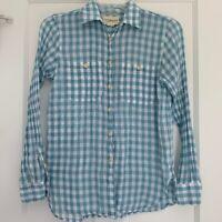 Denim & Supply Gingham Button Down Shirt Blue White Plaid Women's Size S