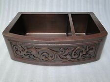 Ariellina 3D Farmhouse 14 Gauge Copper Kitchen Sink Lifetime Warranty New AC1828