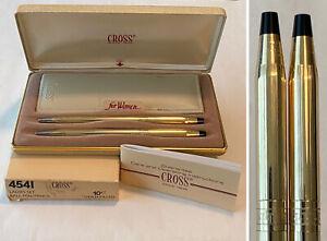 Vintage 4541 CROSS 10KT GF Greek Key Ladies Ball Pen/Pencil Leather Pouch Set